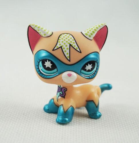 Littlest Pet Shop LPS Toys Shorthair Cat Blue Eyes Comic Con Masked Super Hero