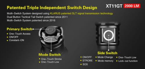 Klarus XT11GT lampe de poche 2000 LM avec batterie Tactical Holster Offset Gun Mount