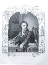 Gotthold Ephraim Lessing, Antique Stipple Engraved Portrait Print c 1860