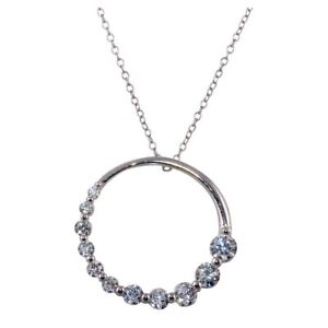 CIRCLE-NECKLACE-PENDANT-W-GRADUATED-LAB-DIAMONDS-925-STERLING-SILVER-18-039-039