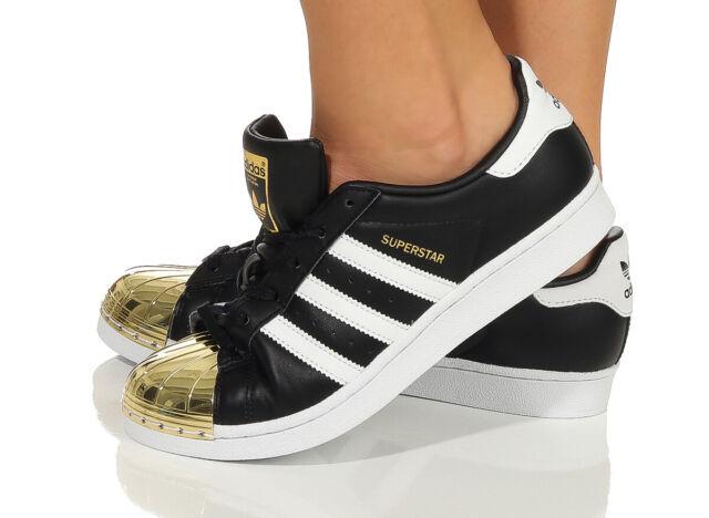 Adidas Superstar Metal Toe W schwarz weiß gold Damen Low Top Sneakers Leder NEU