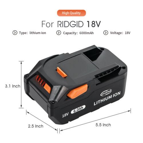 For RIDGID 18 VOLT LITHIUM 6.0Ah HIGH CAPACITY BATTERY PACKS R840087 R840085 US