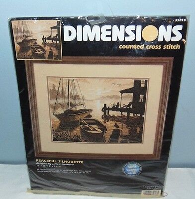 Dimensions Counted Cross Stitch 35018 Peaceful Sihouette Boats Fishing Dock Cove