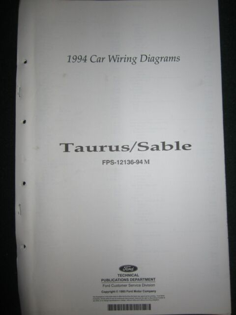 1994 Ford Taurus Mercury Sable Wiring Diagram Manual
