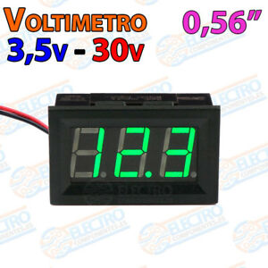Voltimetro-DigitaI-VERDE-3-5V-30V-DC-0-56-Led-2-hilos-empotrable-coche-panel