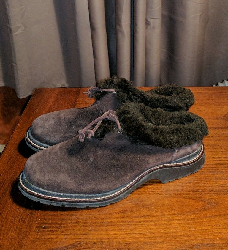 LL BEAN BROWN SHEARLING SHOES MULES FULL CLOGS LADIES 8 M SUEDE ANKLE FUR BOOTS