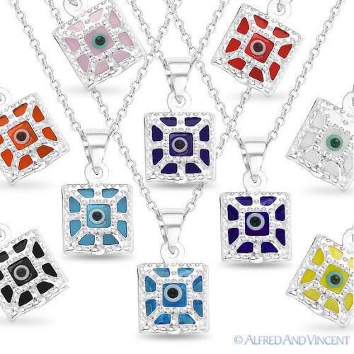 Evil Eye Luck Charm Greek Turkish Nazar Hamsa Pendant Sterling Silver Necklace