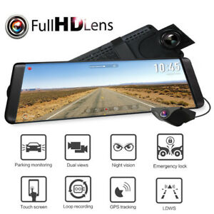 "Auto-Vox X2 9.88"" Car DVR Dual Lens Mirror Dash Cam Video Recorder Rear Camera"