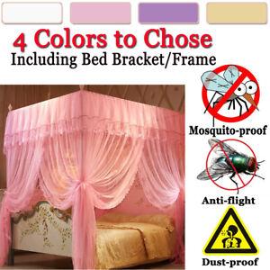 4-Corner-Post-Bed-Canopy-Mosquito-Net-Full-Queen-King-Size-Netting-Bracket-Frame
