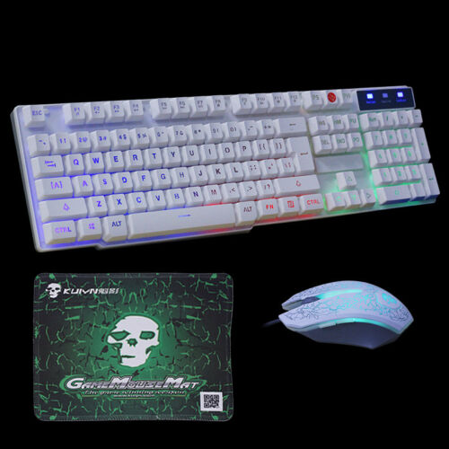 T6 Rainbow Backlight Usb Ergonomic Gaming Keyboard and Mouse For PC Laptop US
