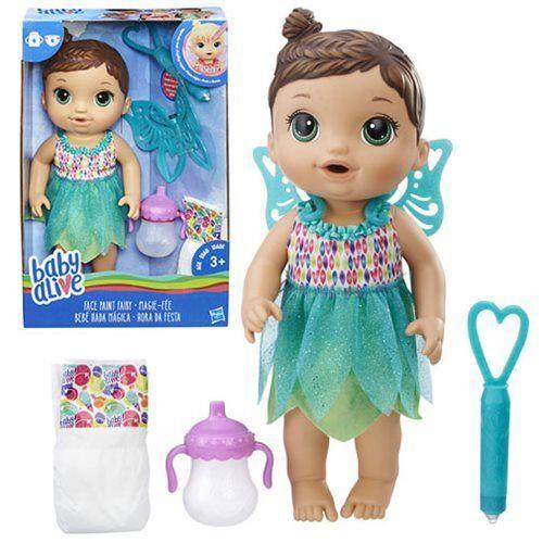 Baby Alive FACCIA VERNICE Fairy e Bambola Bruna-bevande e Fairy PISCIA-Nuovo In Magazzino fd64ed