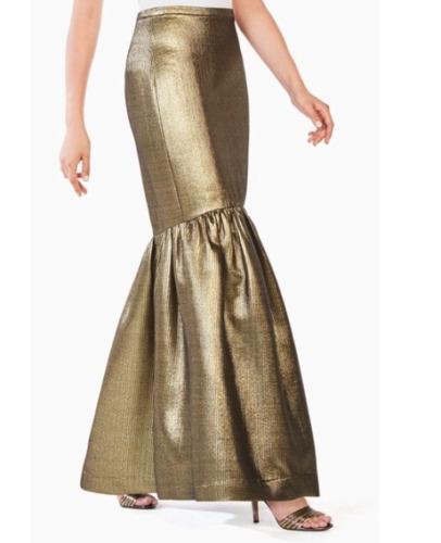 BCBG MAXAZARIA Gold Metalic Jen Mermaid Maxi Skir… - image 1