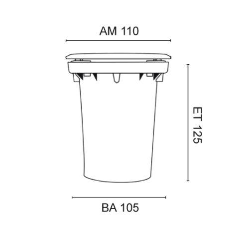 Erdeinbaustrahler 1 x GU10//230V//35W Rund Edelstahlabdeckung Schutzglas klar