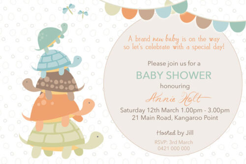 Personalised Baby Shower Invitations Turtle We Print & Print Yourself