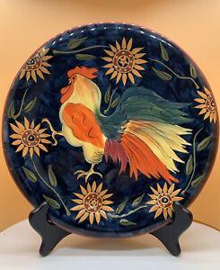 Certified-International-Susan-Winget-Rooster-Hen-Chicken-Sunflower-Plate-11
