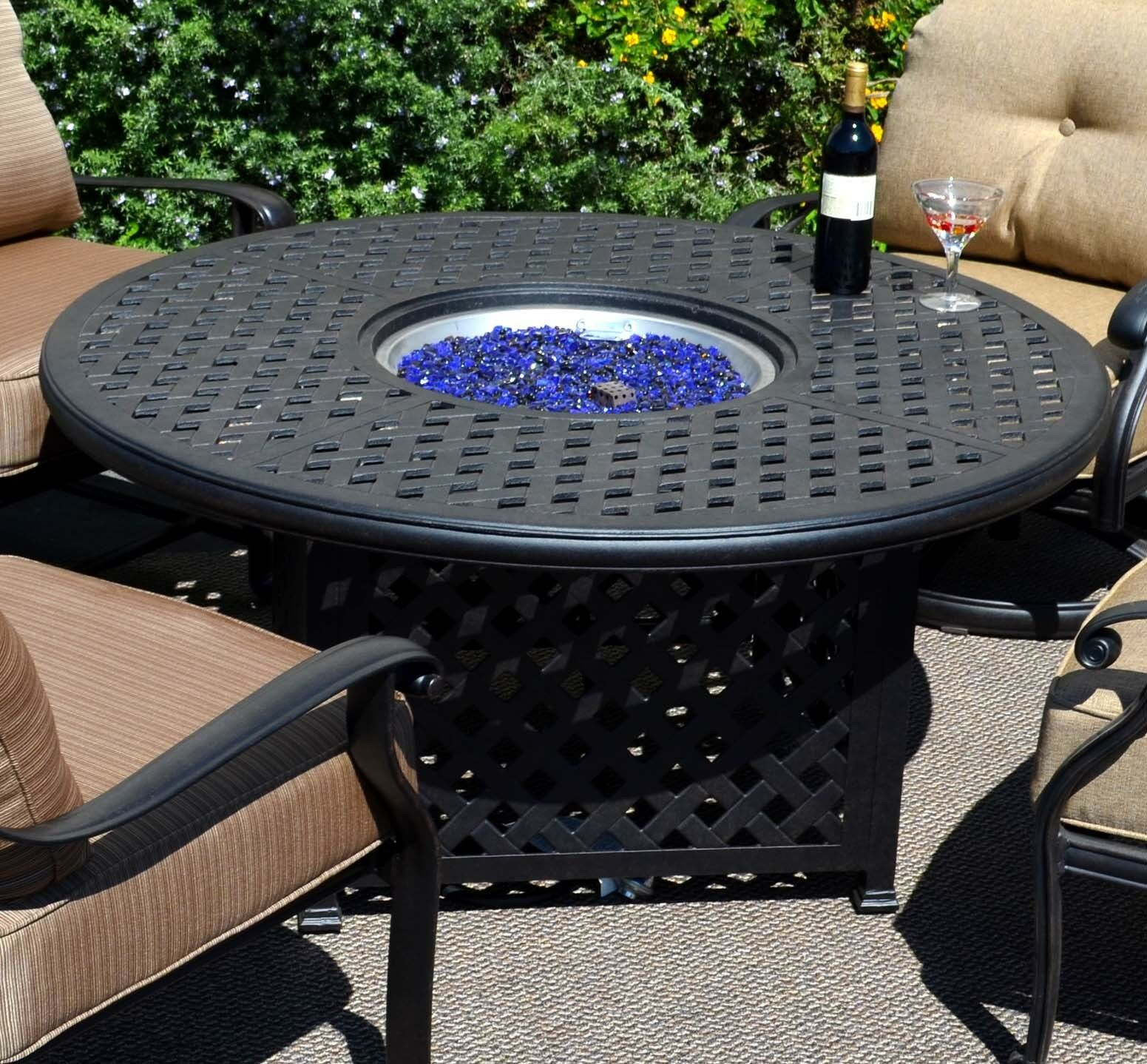 Heritage Outdoor Living 5pc Fire Table Barbados Sling Patio Dining Set Fire Pit For Sale Online Ebay