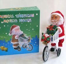 NEW SHOPPING CART MOVING+DANCING SANTA CLAUS MUSICAL CHRISTMAS FIGURINE+BOX