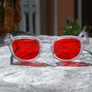 Johnny-Depp-sunglasses-mens-crystal-clear-acetate-glasses-red-tint-lens-SMALL