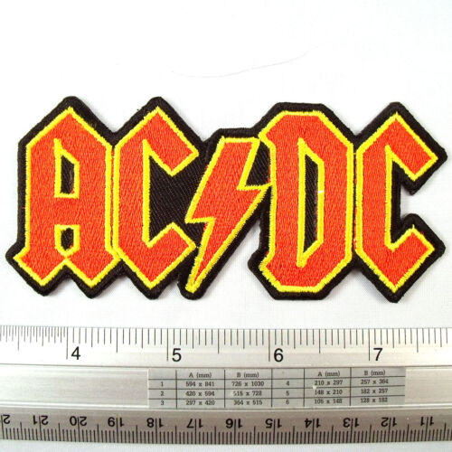 """ACDC Rock Band embroidered iron on patches appliques 2x4.5/"""" Red/&Yellow"""