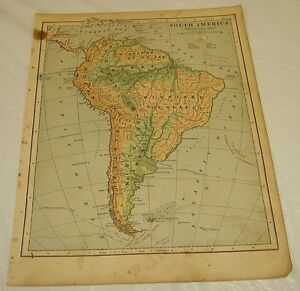 1899 Maury COLOR MAP/SOUTH AMERICA PHYSICAL MAP (Mountains, etc) | eBay