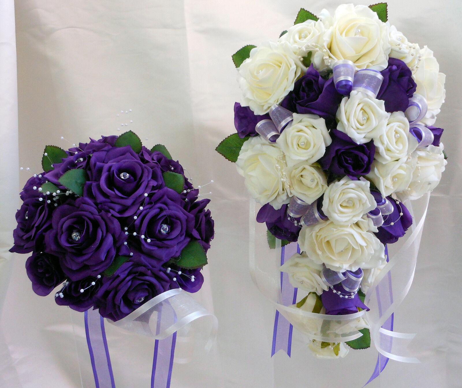 Bouquet de mariage ensemble ensemble mariage violet & blanc ROSES avec perles & diaFemmets 81abc8