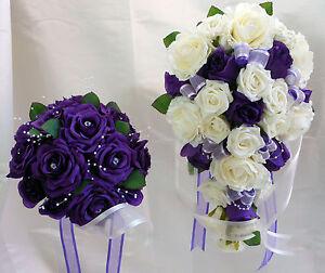 WEDDING BOUQUET SET  PURPLE & WHITE ROSES WITH PEARLS & DIAMANTES