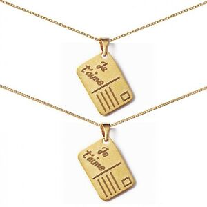 """/""""I Love You/"""" Postcard Pendant Necklace With Gold Plated Chain"""