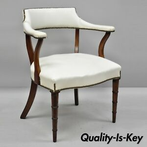 Details About Vintage Mahogany Regency Style Barrel Back Library Chair With  Faux Bamboo Legs