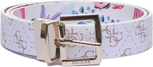 M L Guess Big Logo Belt Womens Synthetic Belts In White Multi Size S