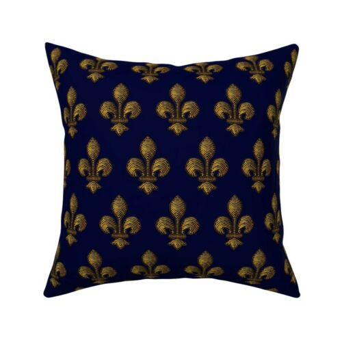 Fleur De Lis Blue Gold French Throw Pillow Cover w Optional Insert by Roostery