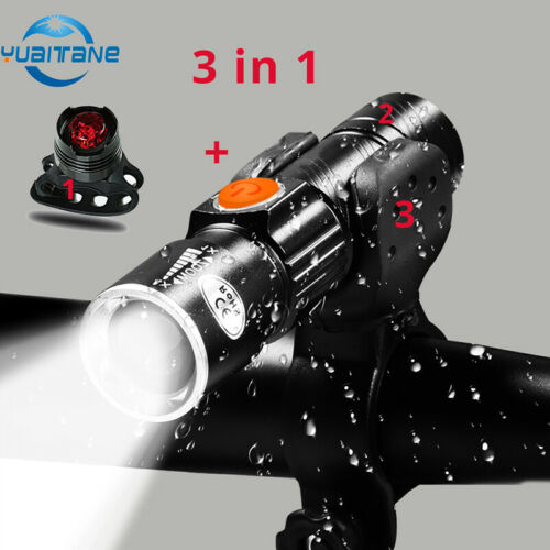 3in1 8000 Lumen Bike Bicycle Light Set USB rechargeable LED Waterproof Super