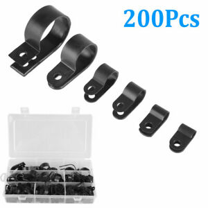 Plastic Clips Clamp Kit 200Pcs Black Nylon Plastic P Clips Clamp Assortment Kit for Wire Cable Pipe