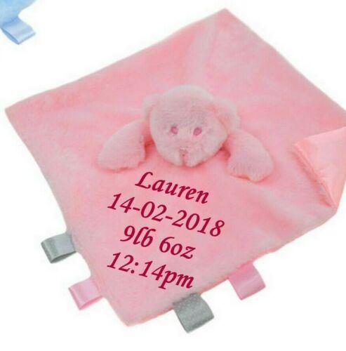 Personalised Teddy Bear Security Comforter Comfort Blanket Baby Girl Boy Taggy