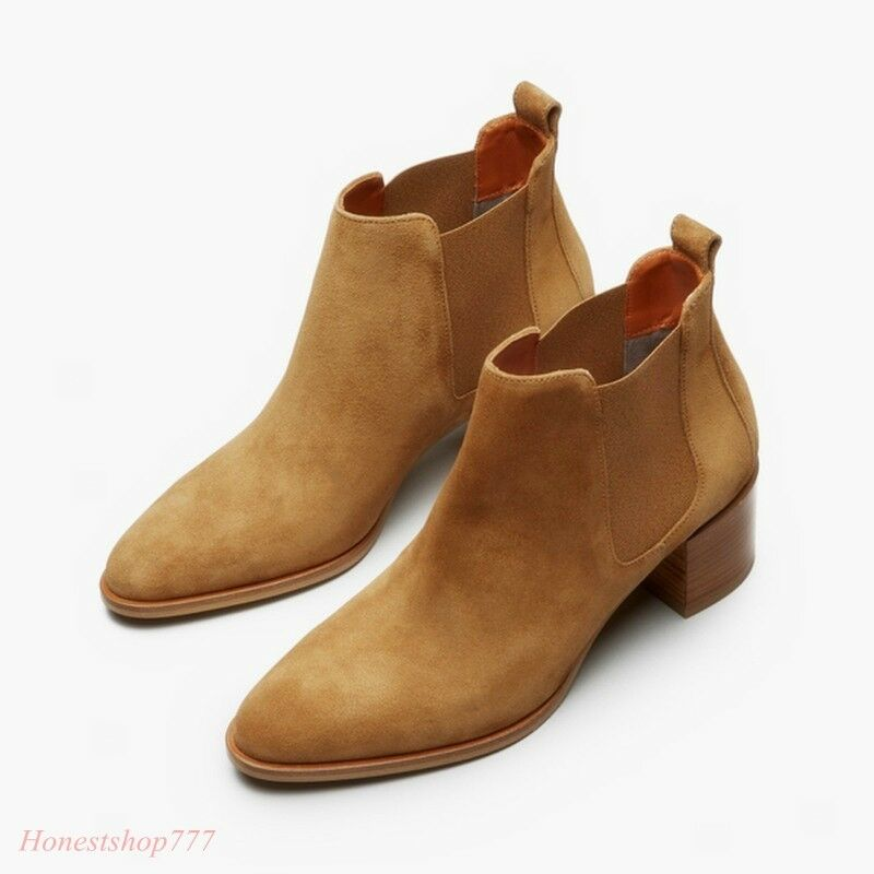 Retro Womens Suede shoes Pull On Ankle Boots Chunky Block Heel Chelsea Fashion