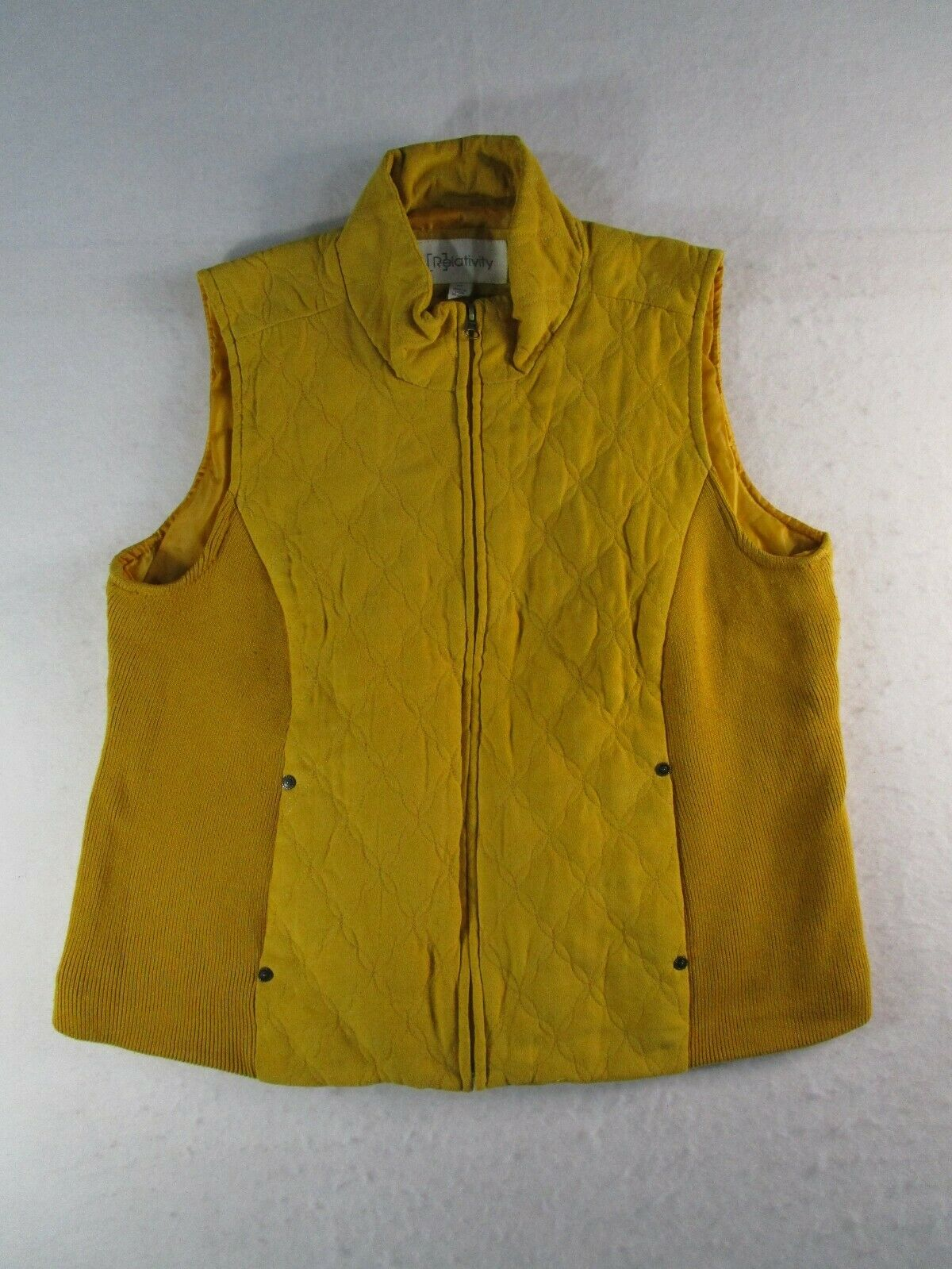 Relativity Womens XL Green Full Zip Vest Pockets Sleeveless Casual Summer Nice
