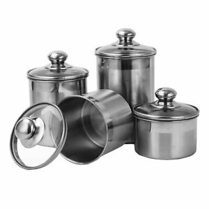 Details about Canister Set Stainless Steel - Beautiful Canisters for  Kitchen Counter -