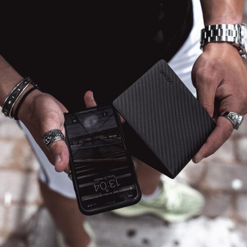 MENS WALLET RFID BLACK GENUINE CARBON FIBER LEATHER  SLIM MENS BIFOLD