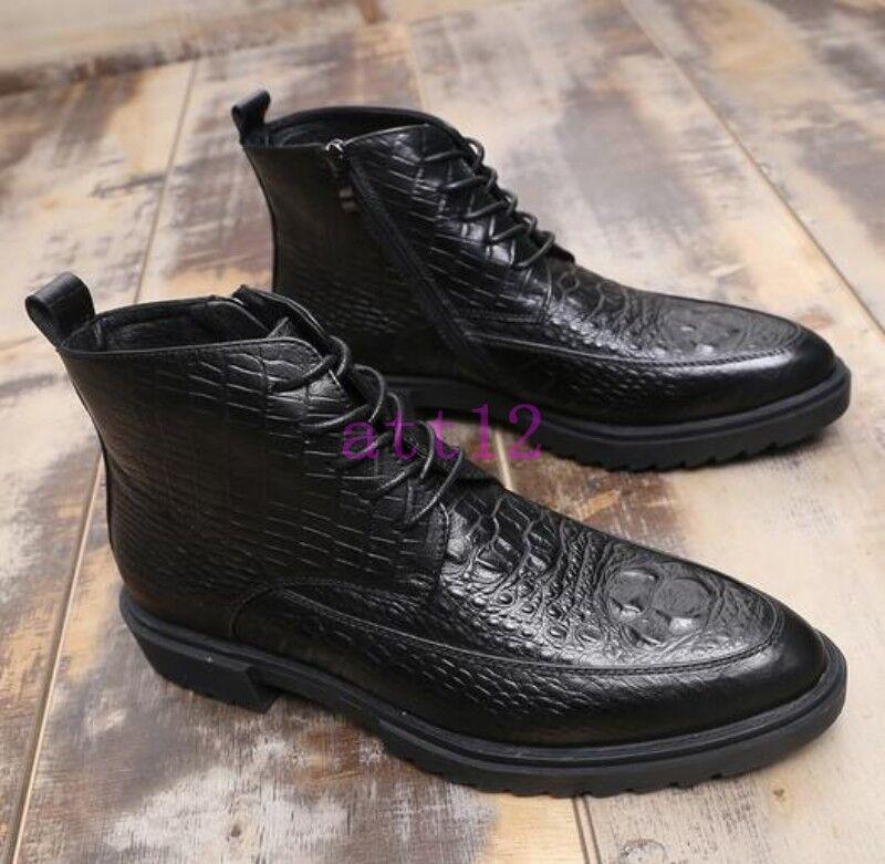 Men Lace Up Black Leather Ankle Boot Dress British Crocodile Pattern Formal Shoe
