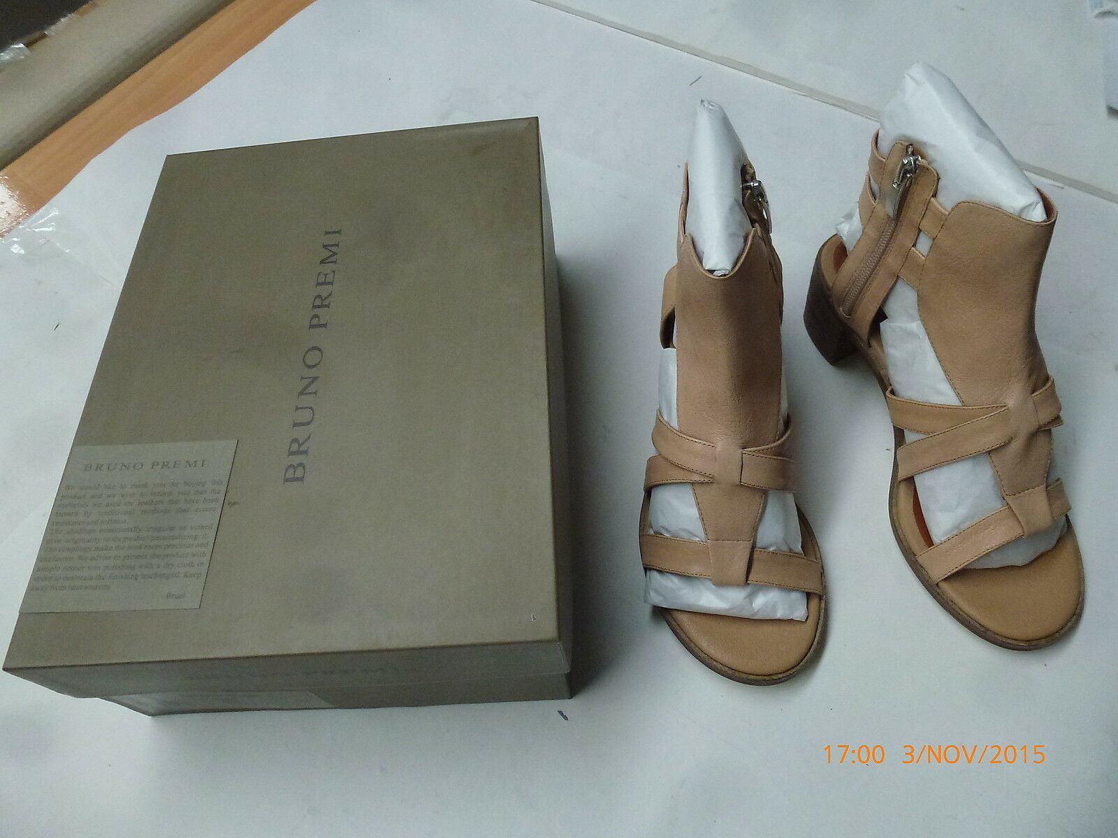 Bruno Premi X4203X Texas Naturale Womens 100% Leather Strap shoes Size 7 38 New
