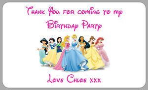 21 disney princess stickers party bag thank you labels personalised