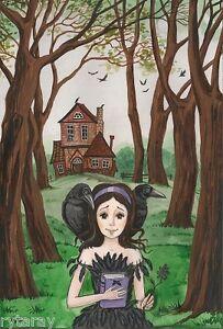 5x7-PRINT-OF-PAINTING-RYTA-RAVEN-CROW-GIRL-WOODS-HOUSE-FOLK-ART-LANDSCAPE