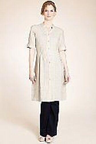 New Twiggy for M&S Oatmeal Beige Pure Linen Shirt Pleat Dress Sz 12