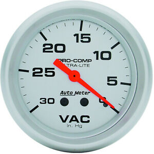 Autometer AMT-4484 Gauge, Ultra-Lite, Vacuum, 2 5/8 in., 30 in. Hg, Mechanical,