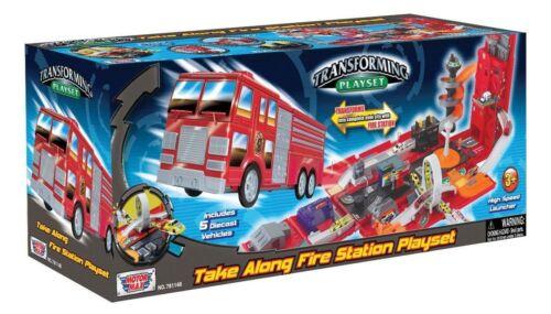 Motormax Take Along Fire Station Transforming Playset Kids Toys