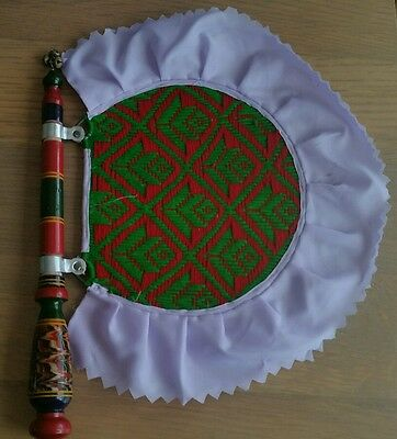Authentic Punjabi Traditional Pakhi handmade carved wooden paintwork woven fan H