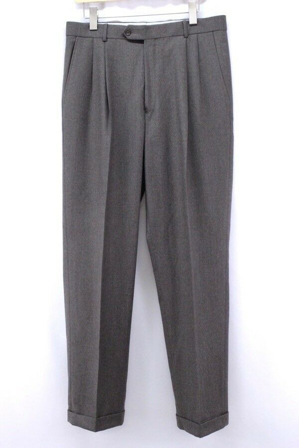Mens brown BALLIN wool trousers pants pleat front wool cashmere 34 x 33