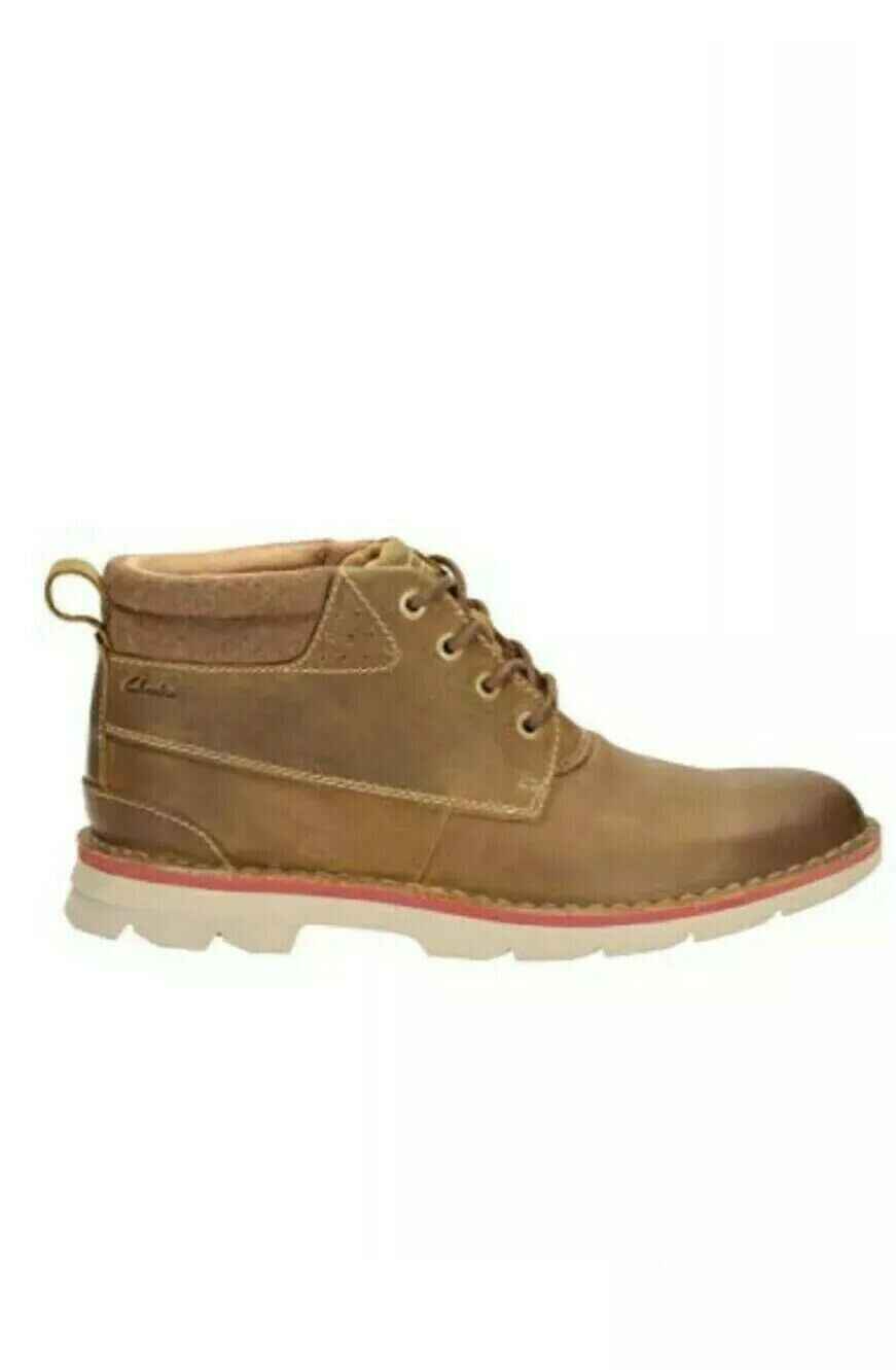 Clarks men shoes varick heal cognac brown leather boots UK size 8.5,9,10 G nwb