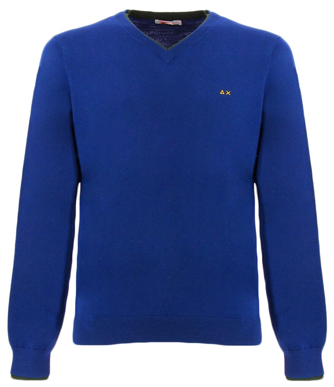 SUN68 blau-grüner V-Pullover mit grünem Profil für Männer Sun 68 K28106ROYAL