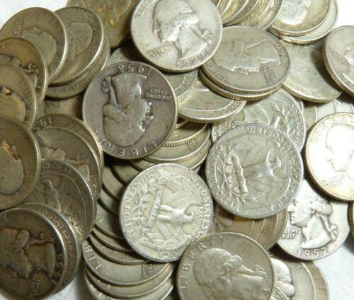 $1.75 Face Value 90/% SILVER Washington 25c Quarters 1950-1964 FREE Shipping 7