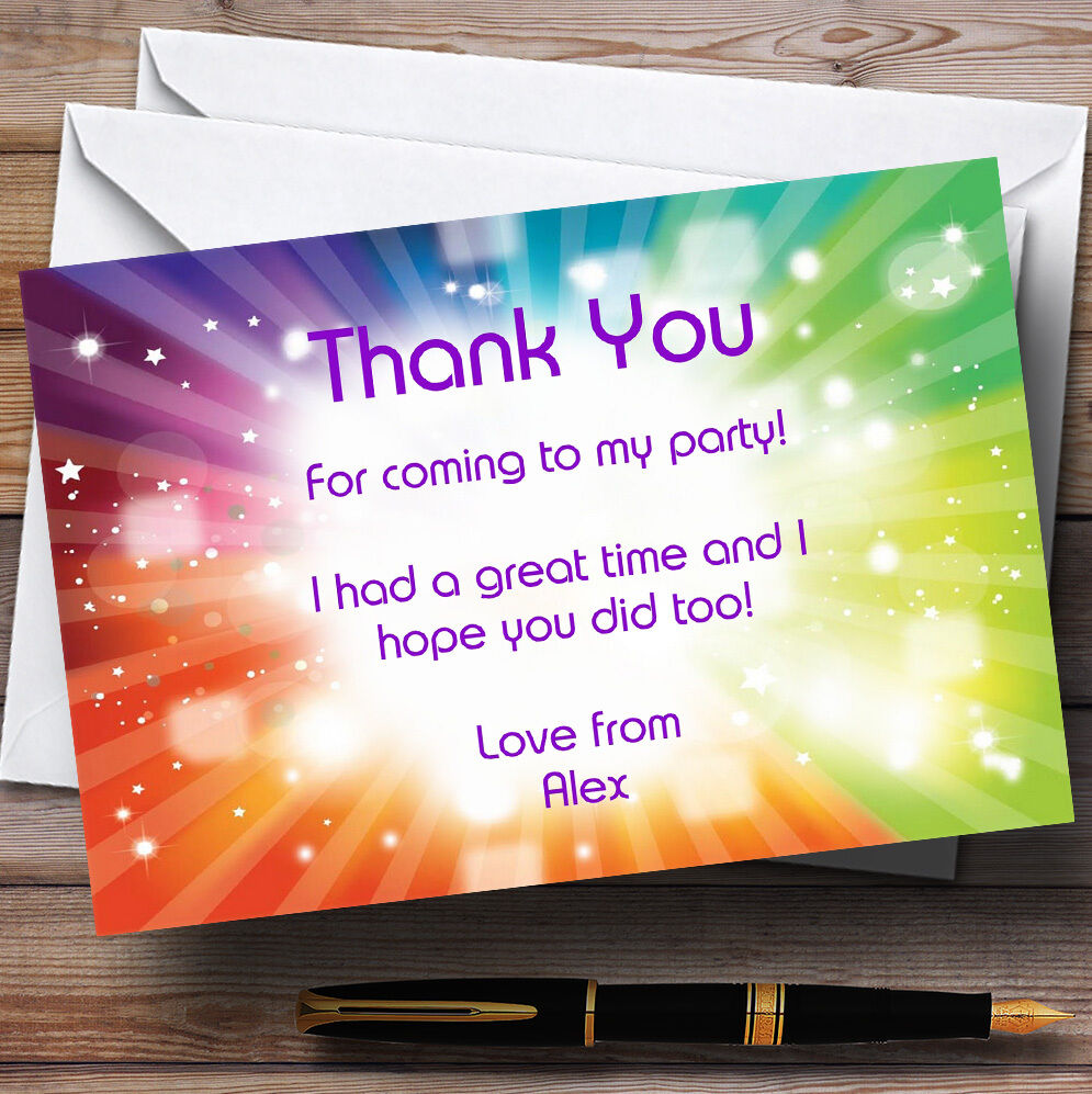 Rainbow Colours And Stars Personalised Party Thank You Cards